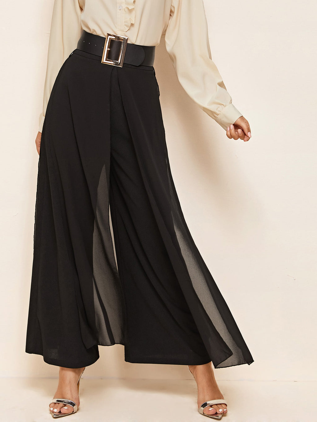 Split Skirt Overlay Buckle Belted Wide Leg Pants FD