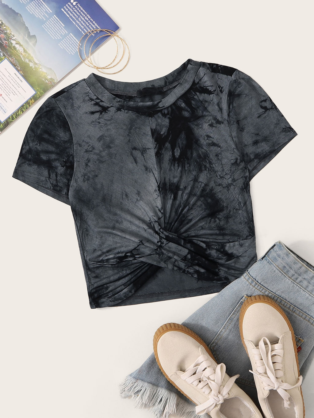 Plus Tie Dye Twist Hem Tee