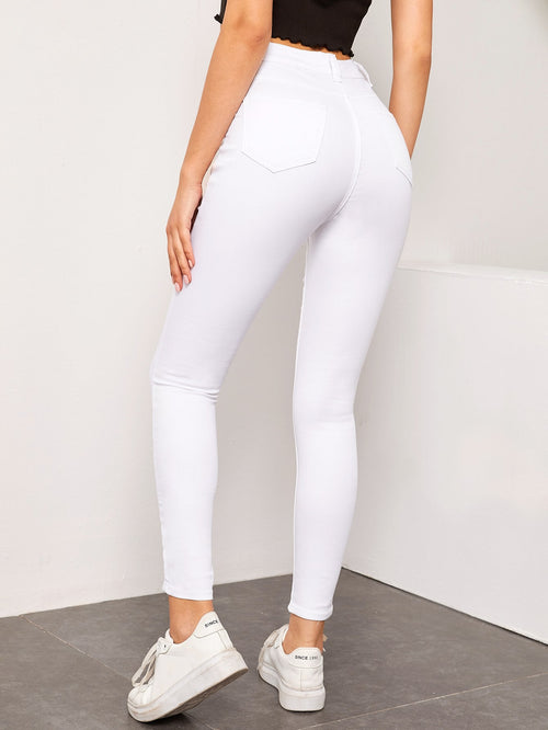 High Waist High Stretch Skinny Jeans Without Belt White-Negative Apparel