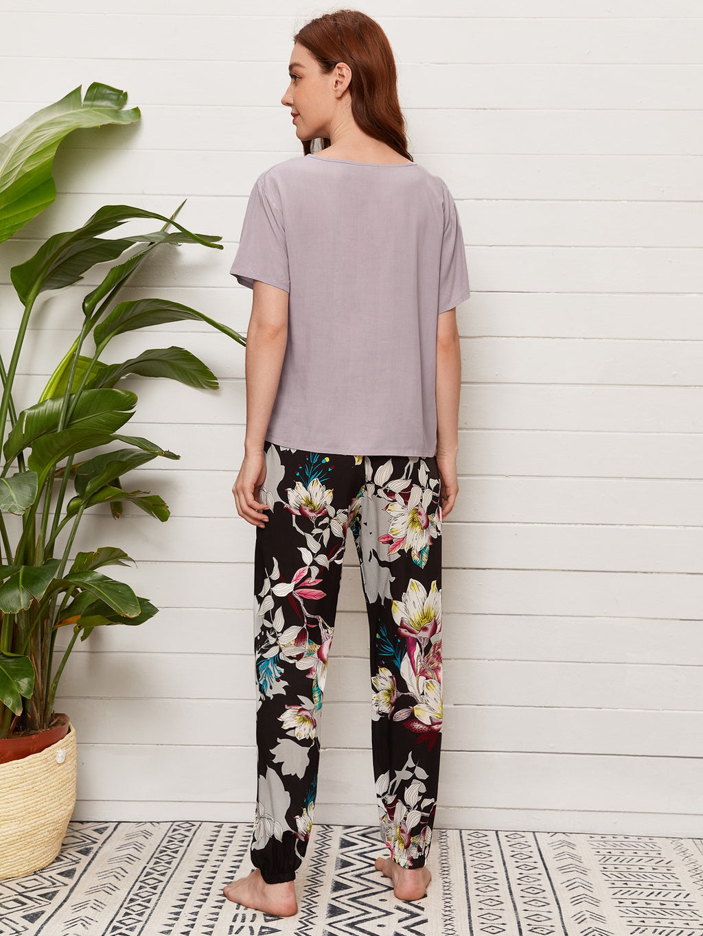 Solid Tee & Large Floral Pants PJ Set