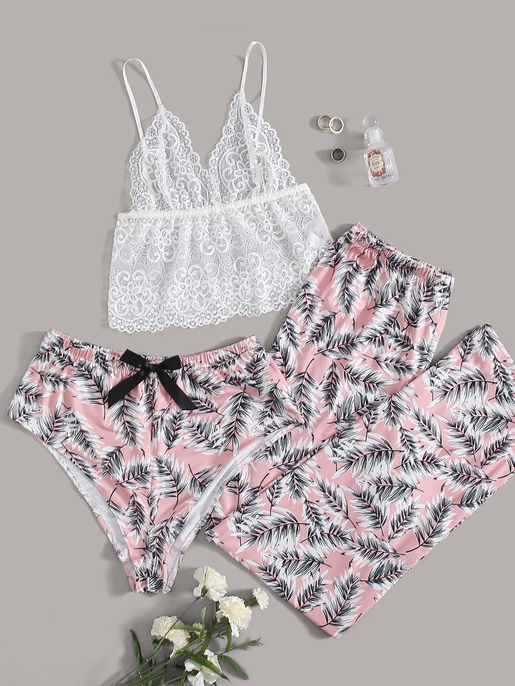 3pcs Guipure Lace Plants Print PJ Set