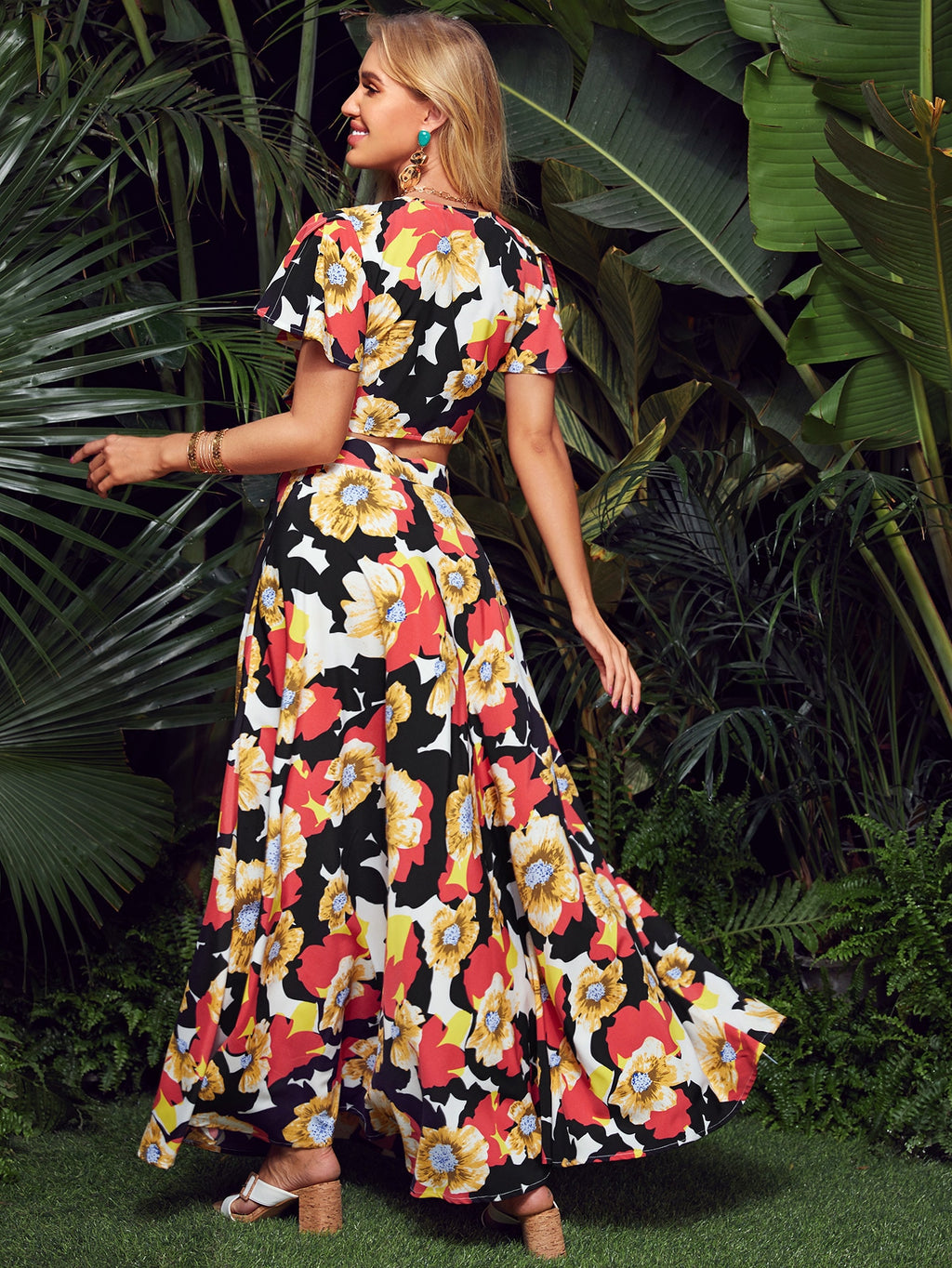 Floral Print Tie Front Top and Maxi Skirt Set (4442265944129)