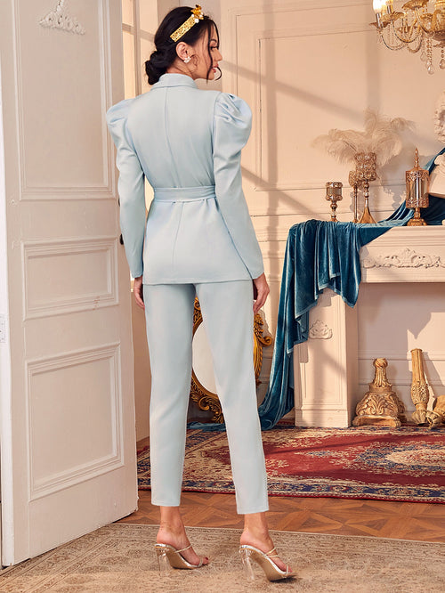 Shawl Collar Gigot Sleeve Belted Blazer and Pants Set-Negative Apparel