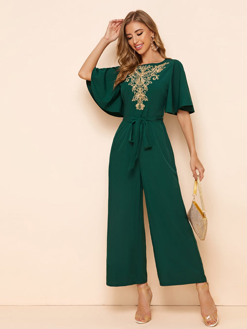 Embroidery Detail Belted Palazzo Jumpsuit-Negative Apparel