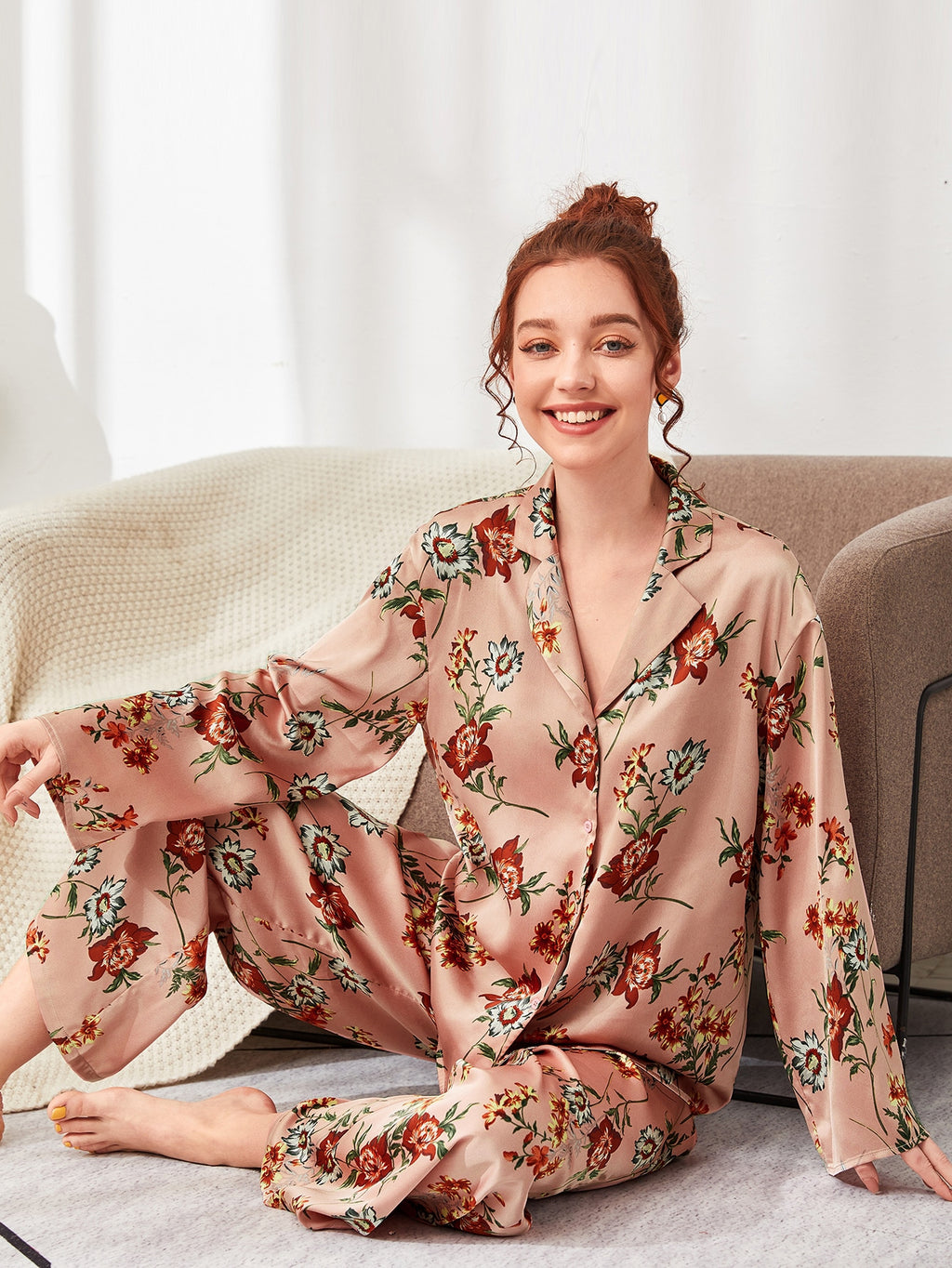 Floral Print Notch Collar Blouse and Pants PJ Set