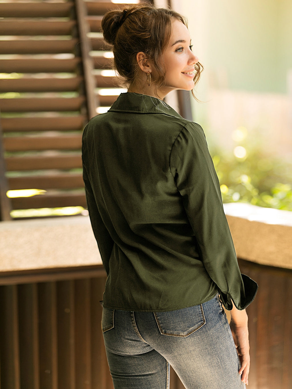 Solid Button Up Chiffon Blouse Army Green