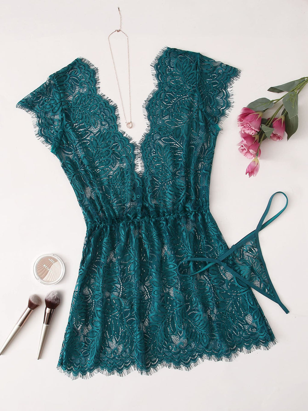 Eyelash Floral Lace Dress With Thong