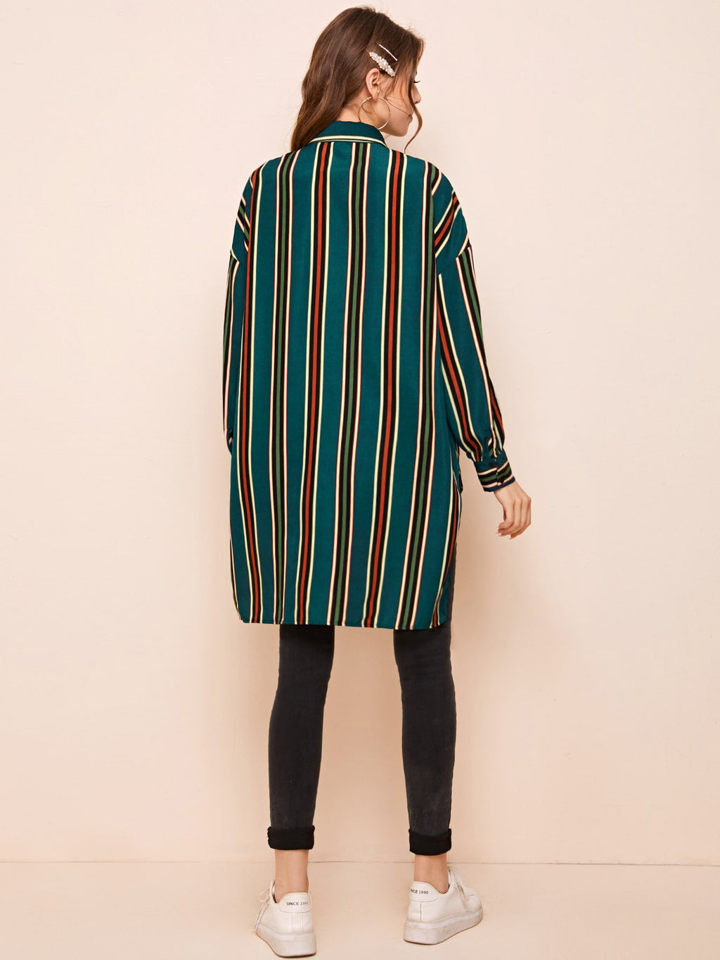 Drop Shoulder High-low Hem Striped Patchwork Blouse