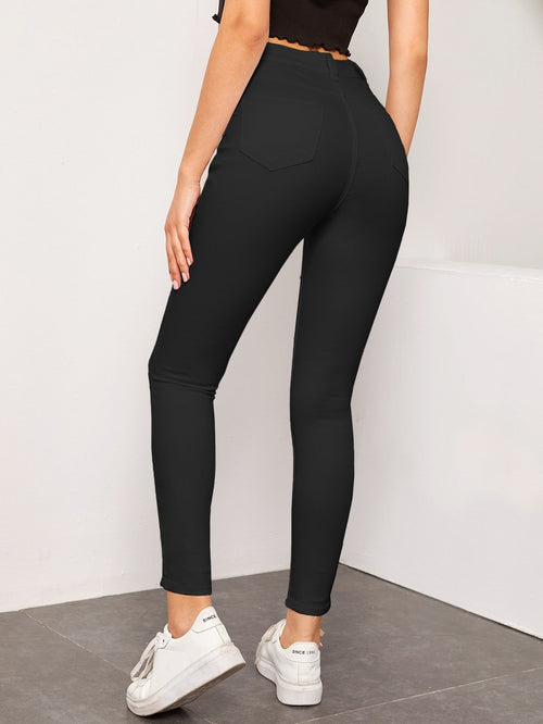 High Waist High Stretch Crop Jeans Without Belted Black-Negative Apparel