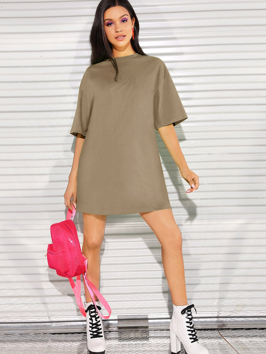 Drop Shoulder Solid Tee Dress