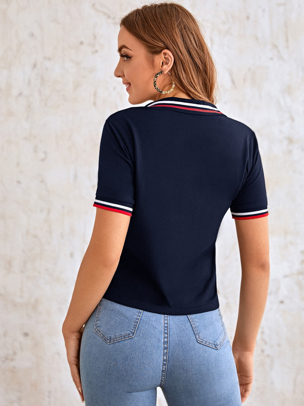 Embroidered Detail Striped Trim Polo Shirt