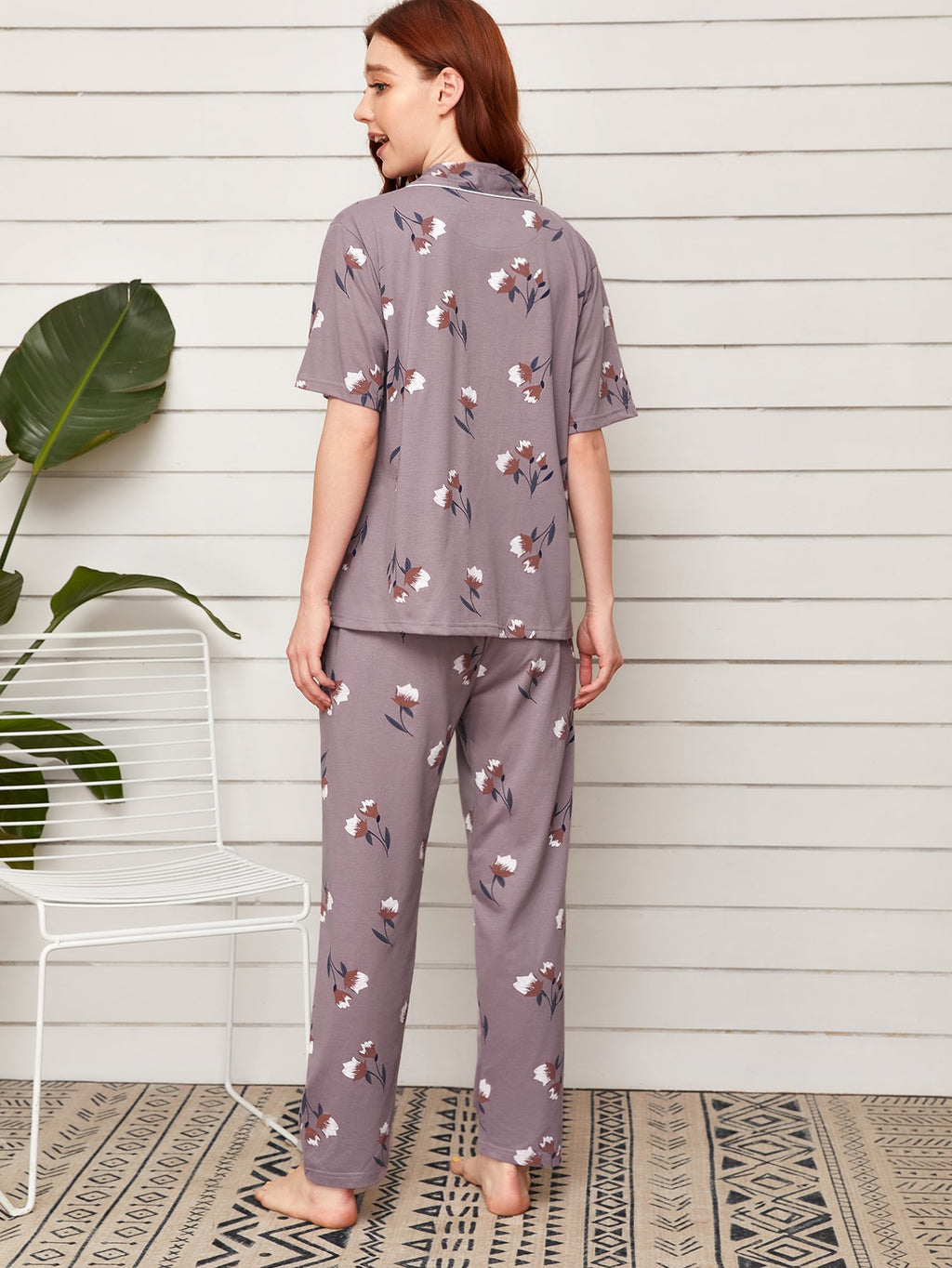 Floral Print Lapel Neck Pajama Set