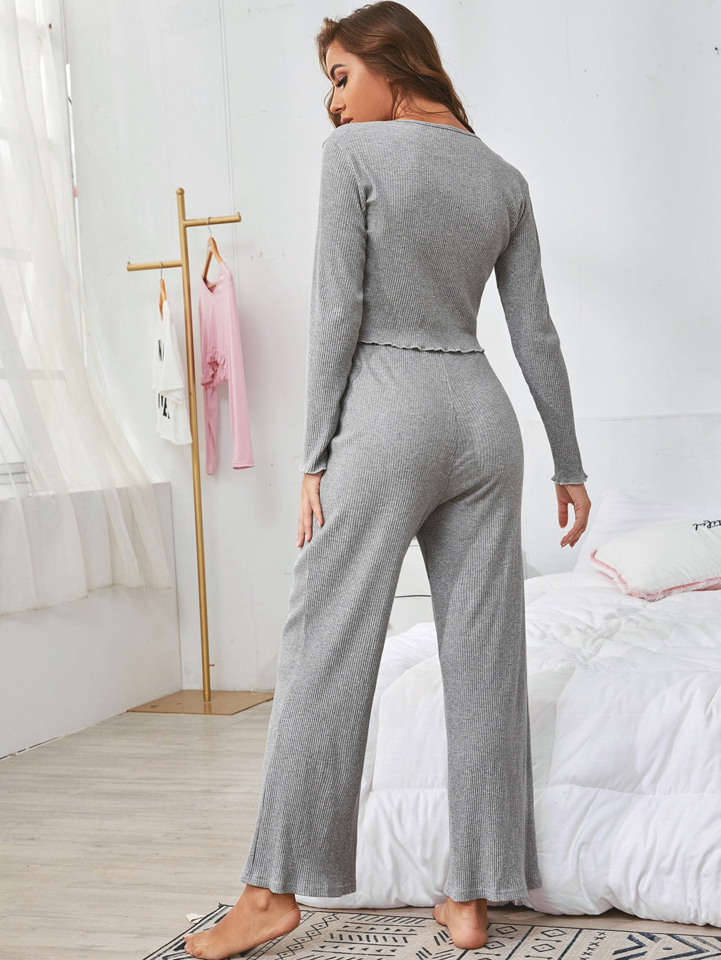 Ribbed Button Front Tee & Knot Detail Pants PJ Set