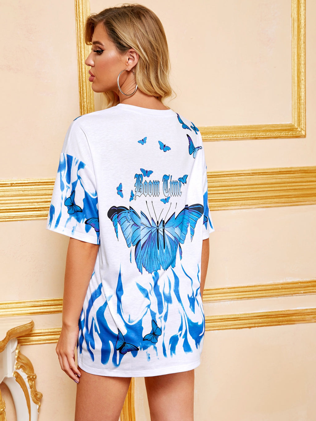Tie Dye And Butterfly Print Oversized Tee