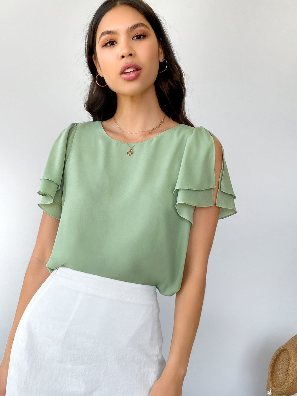 Layered Split Sleeve Solid Top