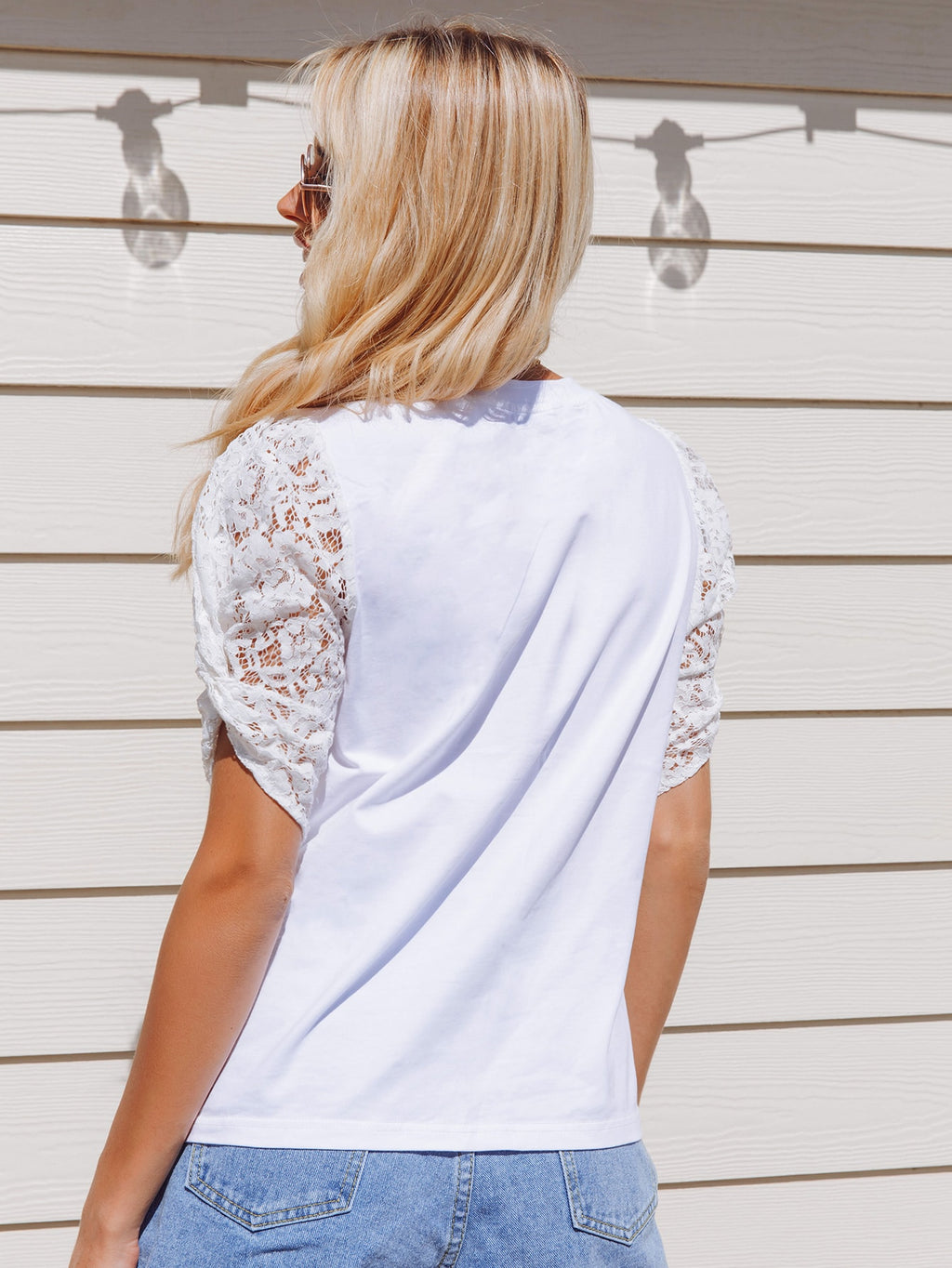 Twist Lace Puff Sleeve Solid Top