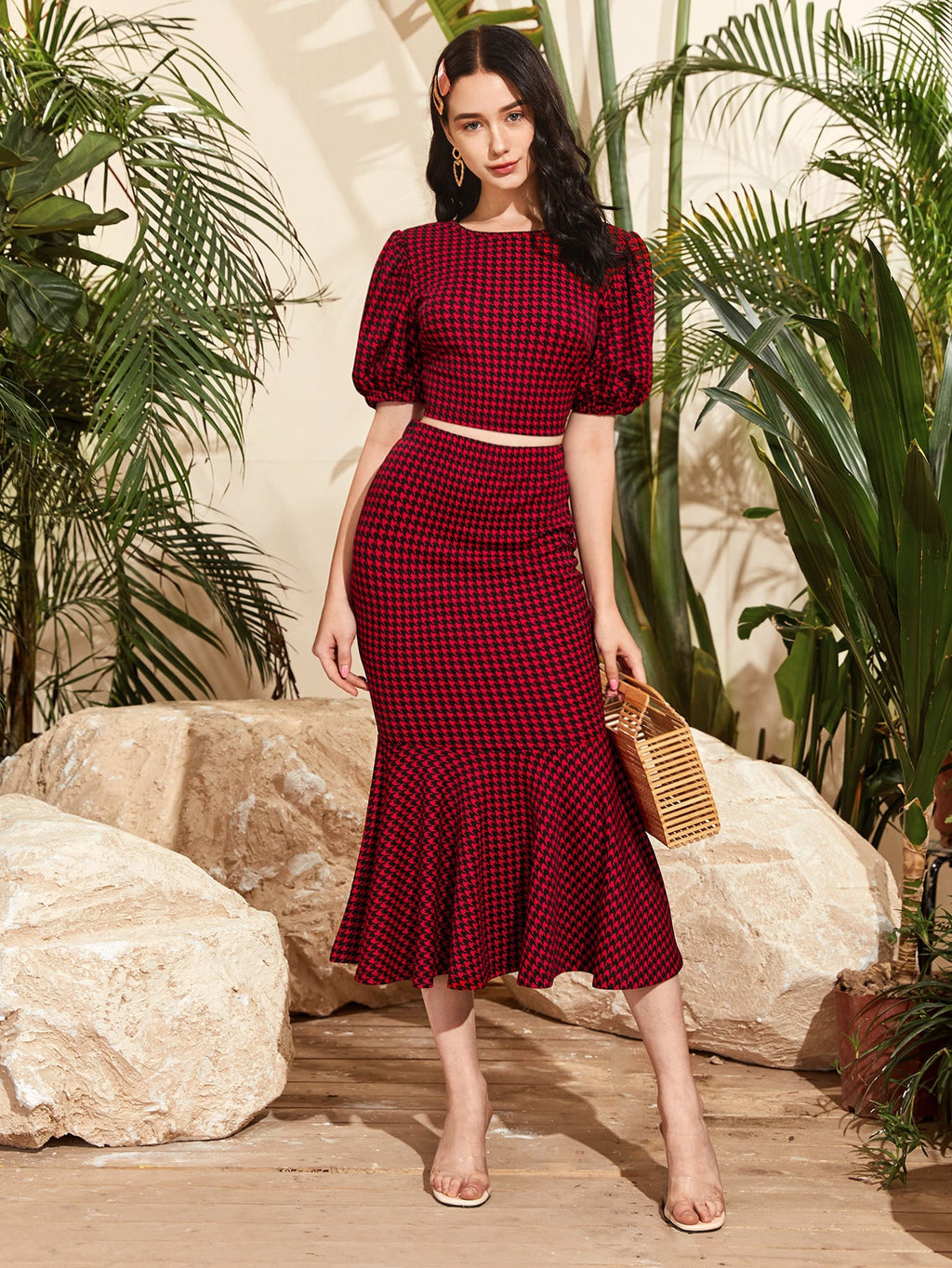 Puff Sleeve Houndstooth Crop Top and Fishtail Hem Skirt Set FD