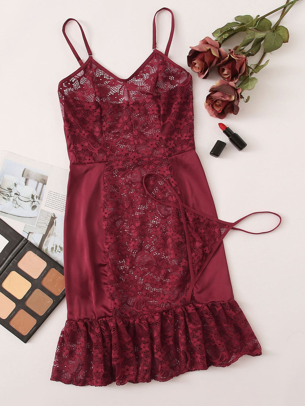 Floral Lace Ruffle Hem Slips With Thong