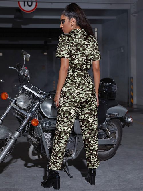 Button Front Camo Shirt Jumpsuit With Mask-Negative Apparel