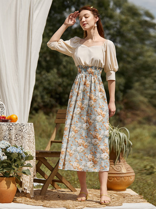 Floral Shirred Waist Spliced Milkmaid Dress-Negative Apparel