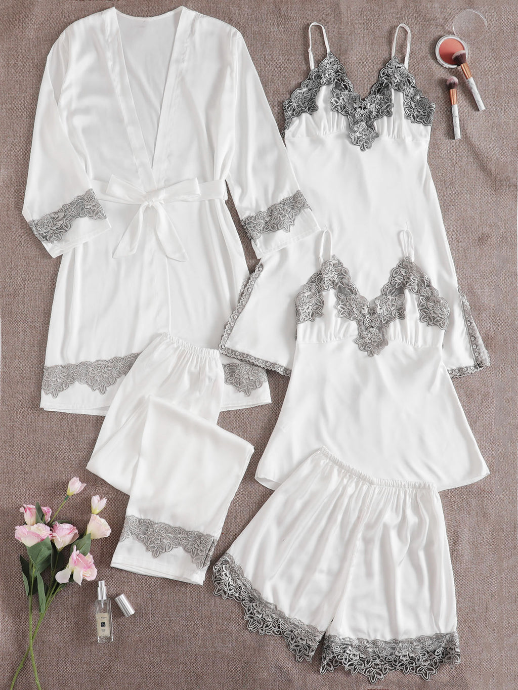 5pcs Guipure Lace Panel Belt Satin PJ Set