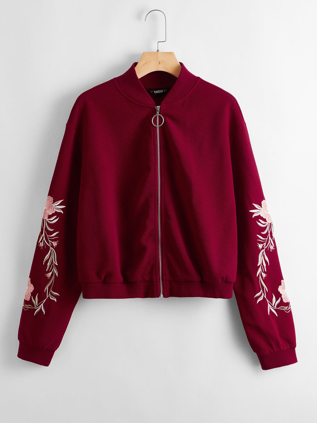 Embroidered Floral Detail O-ring Zip Up Bomber Jacket FD