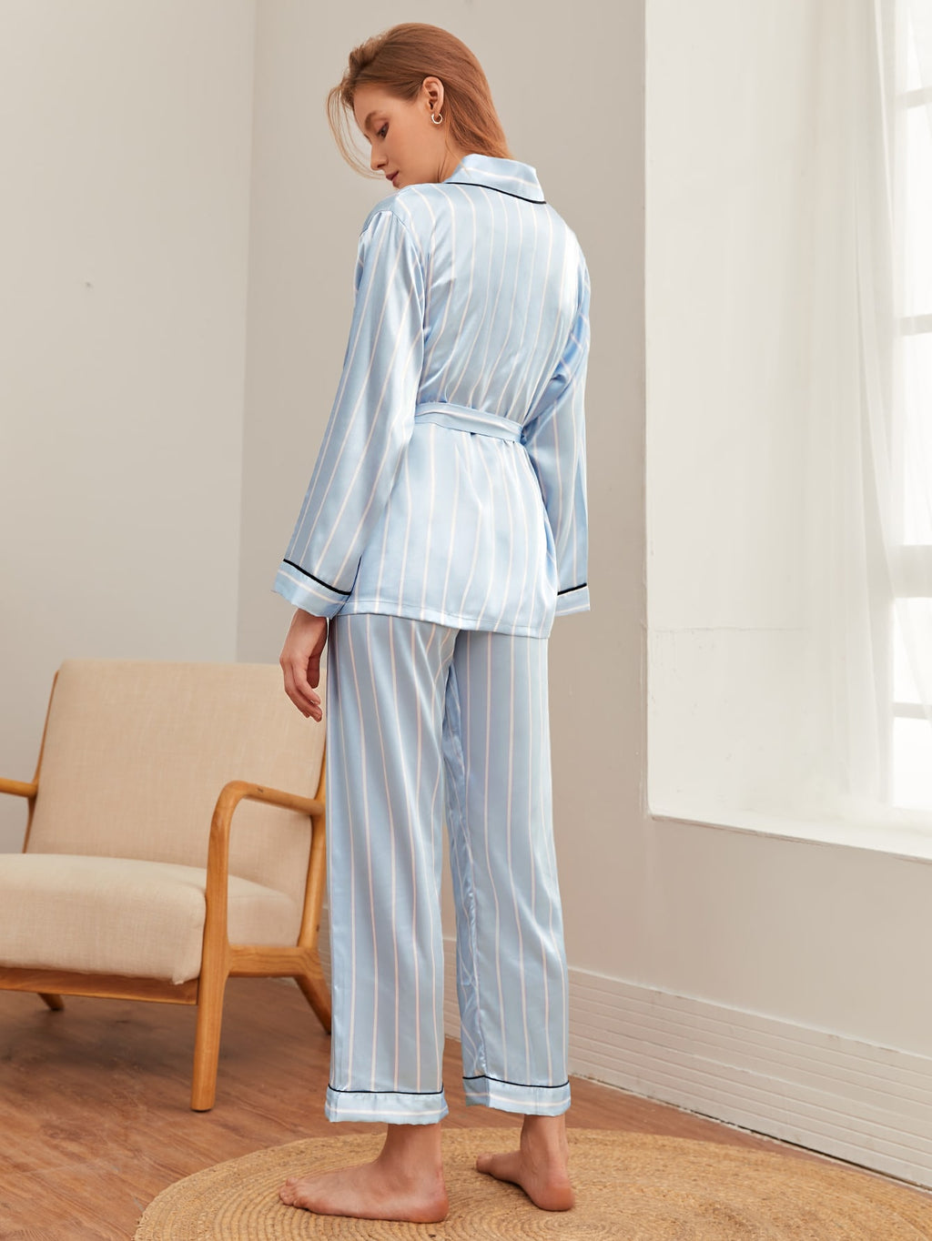 Stripe Print Belted Robe With Pants PJ Set