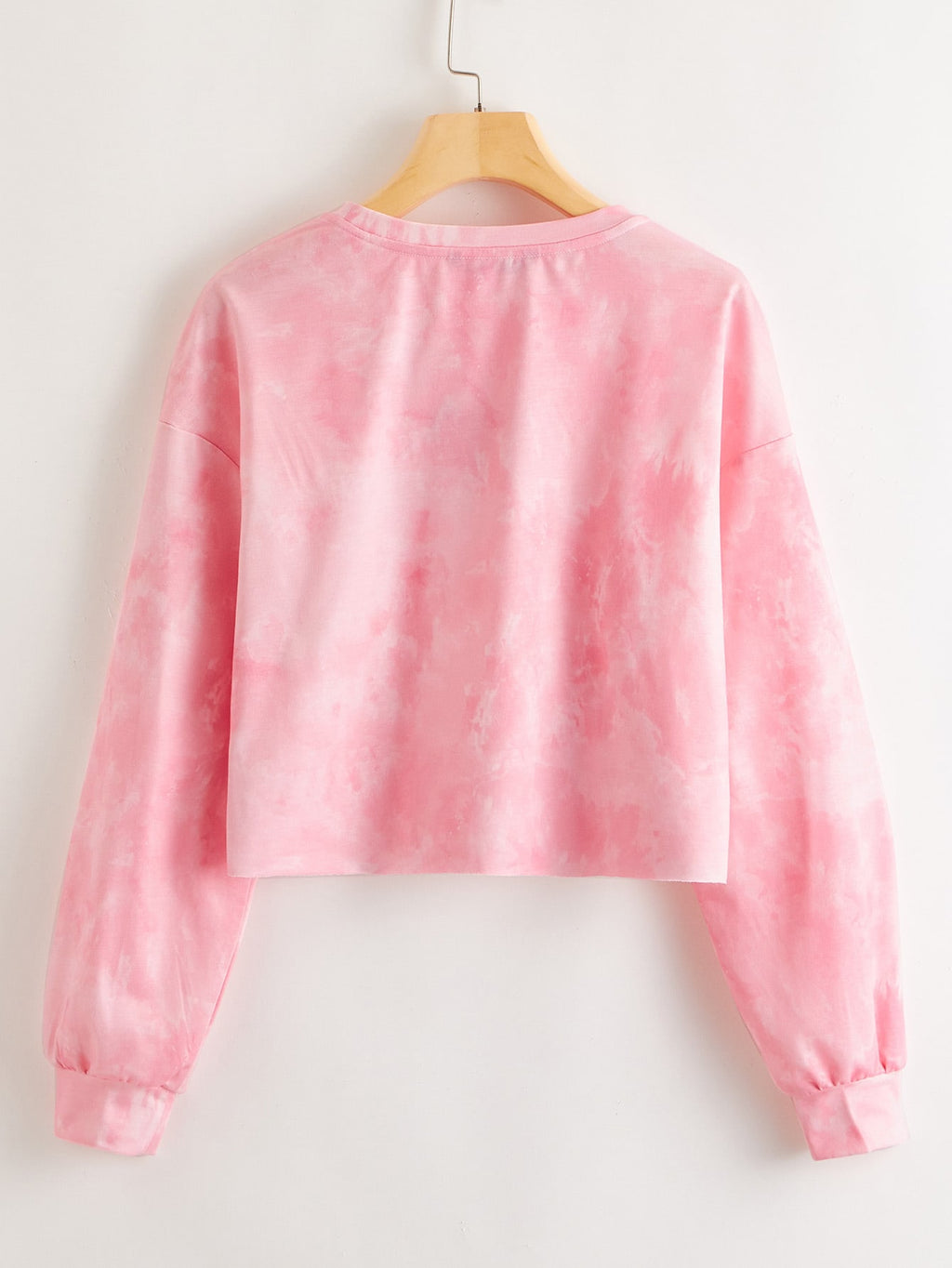 Drop Shoulder Butterfly Embroidered Tie Dye Pullover FD