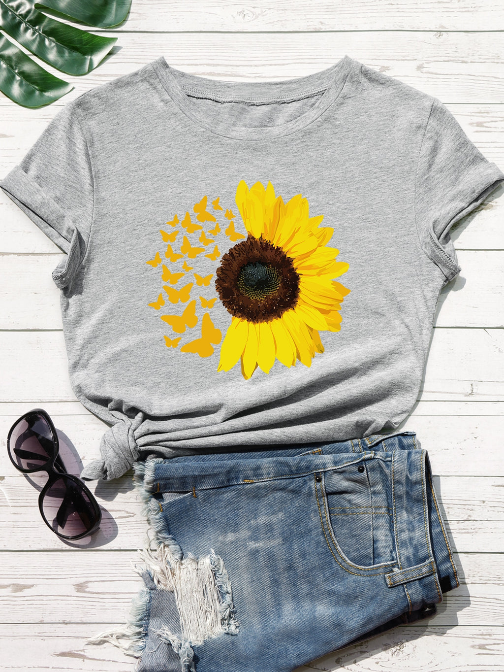 Sunflower And Butterfly Print Tee FD