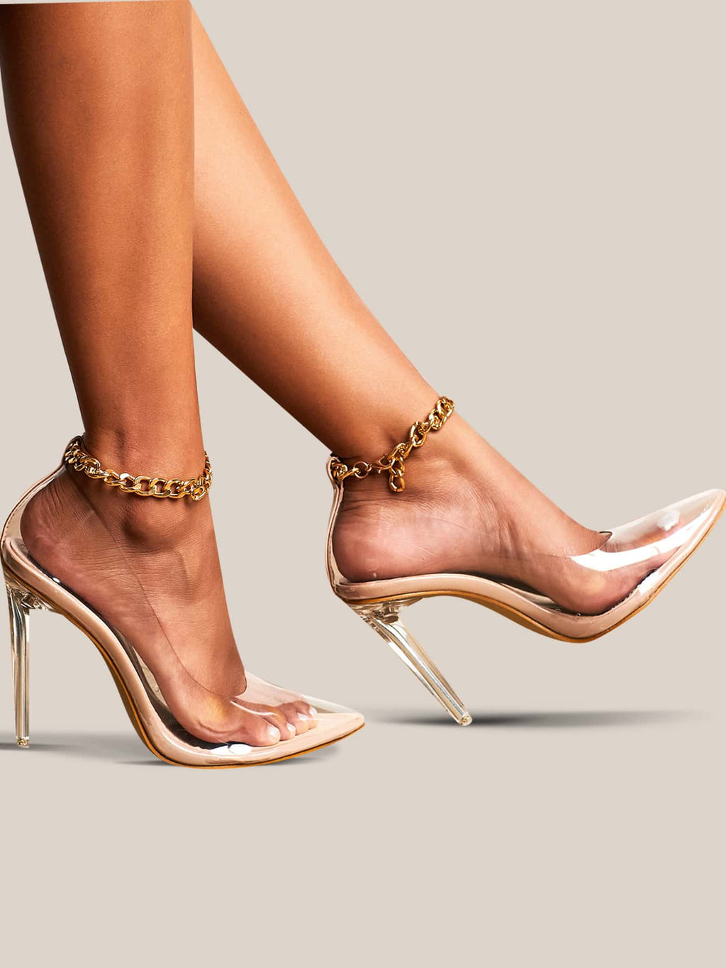 Point Toe Chain Decor Clear Stiletto Heels
