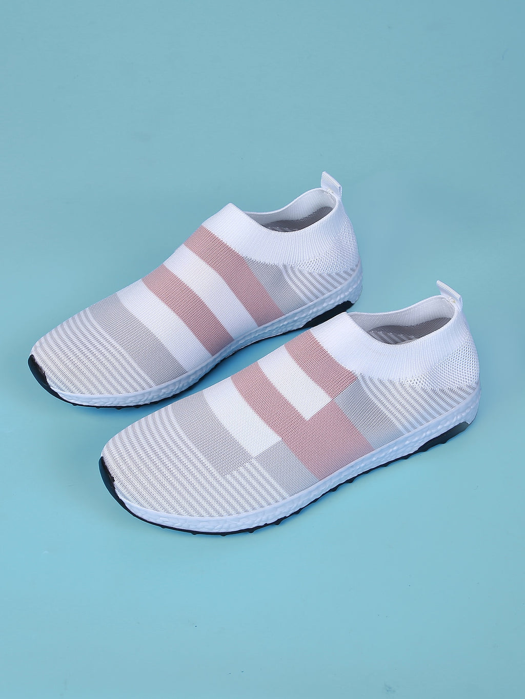 Colorblock Knit Slip On Sneakers