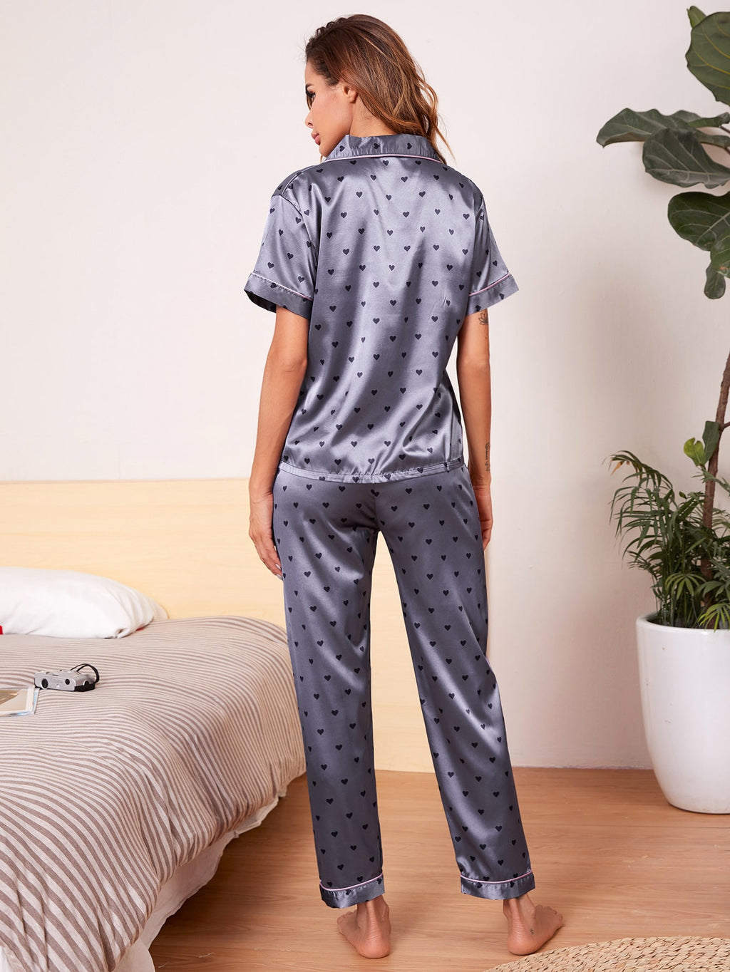 Allover Heart Print Satin PJ Set