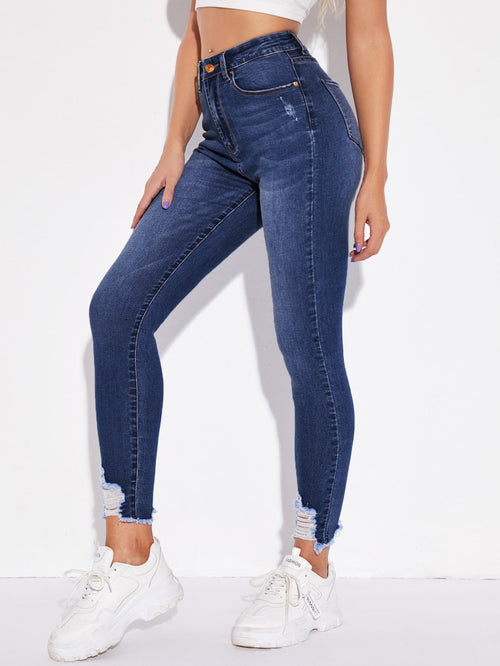 High-Rise Frayed Skinny Jeans Dark Wash-Negative Apparel