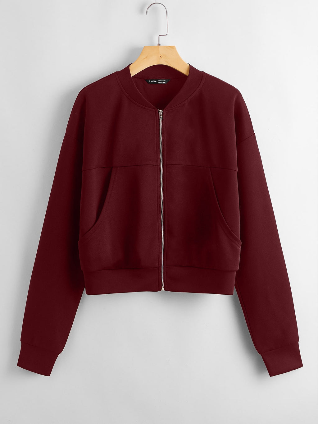 Pocket Front Zip Front Bomber Jacket FD