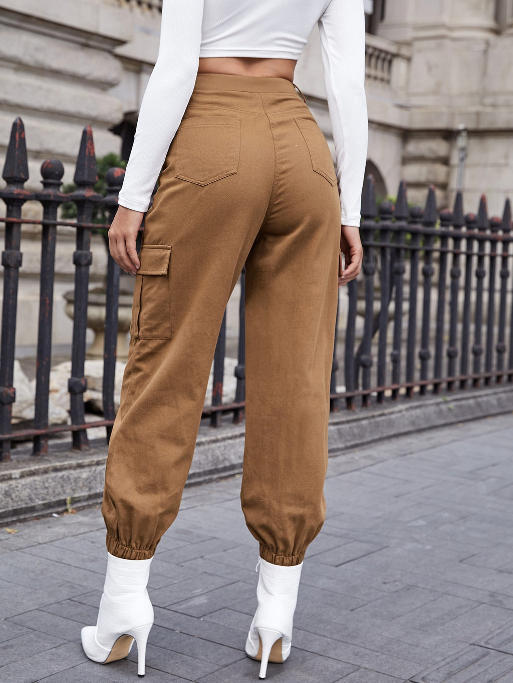 Buttoned Front Flap Pocket Patched Side Pants FD