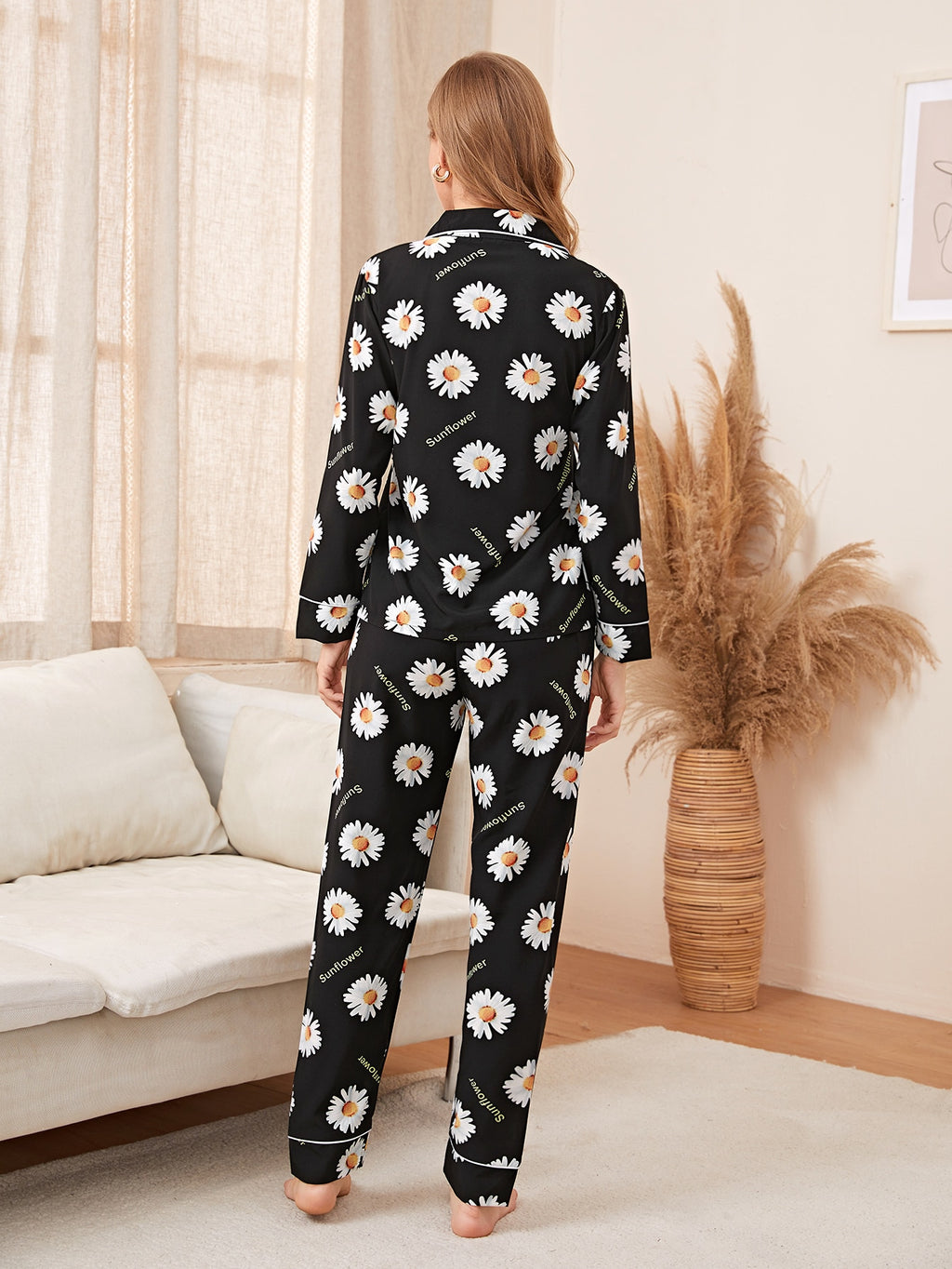 Sunflower Print Button Front PJ Set