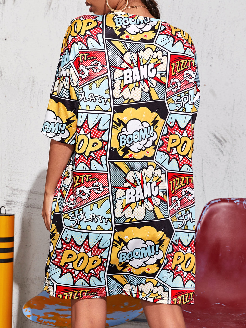 Pop Art Print Longline Oversized Tee