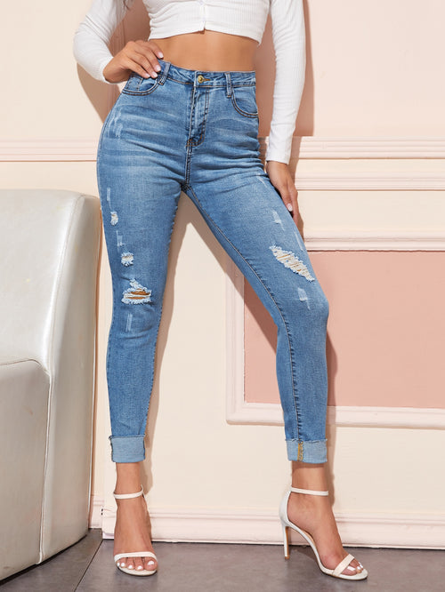 High Waisted Ripped Cat Whiskers Skinny Jeans Light Wash-Negative Apparel