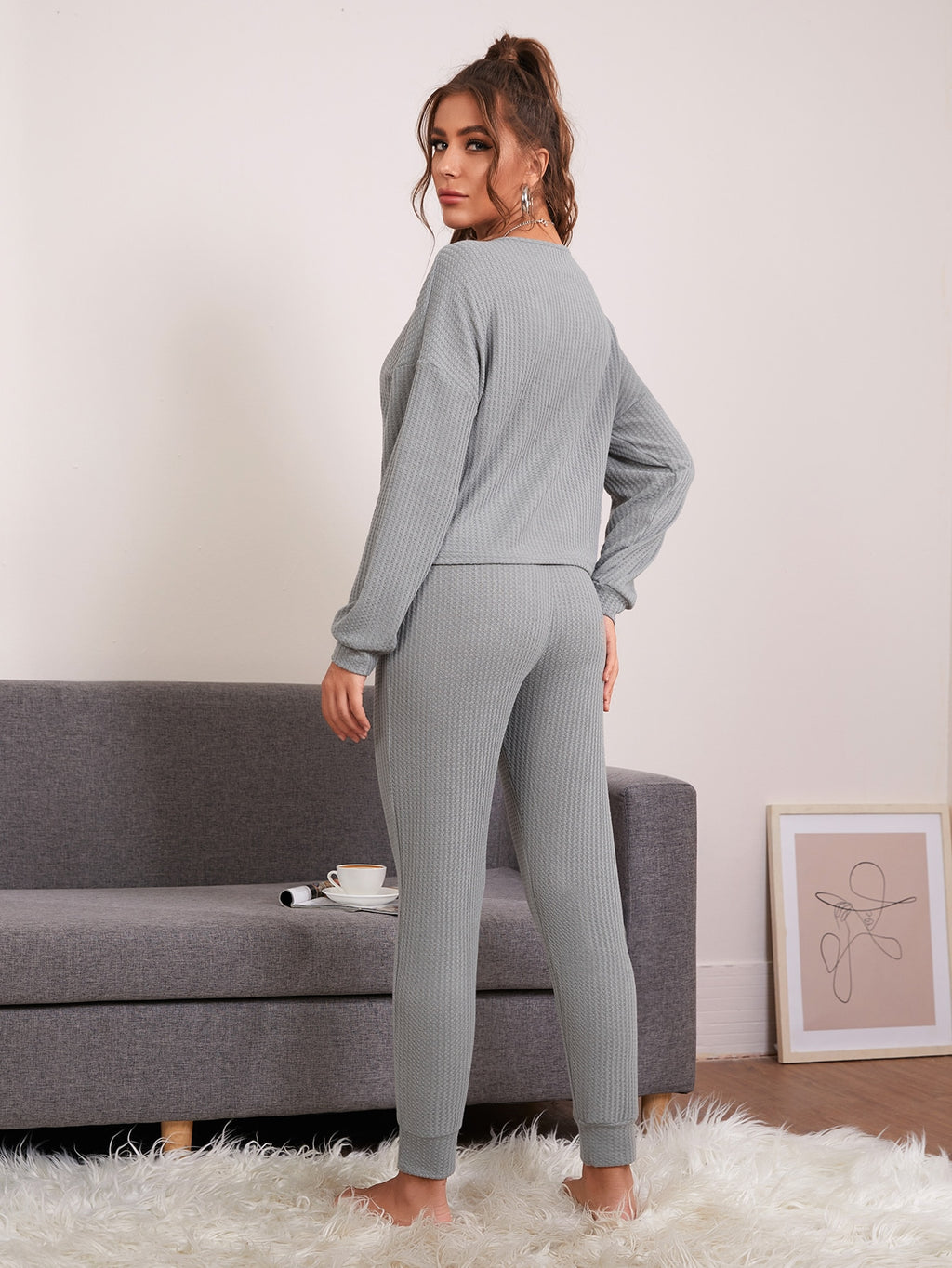 Drop Shoulder Waffle Knit Lounge Top