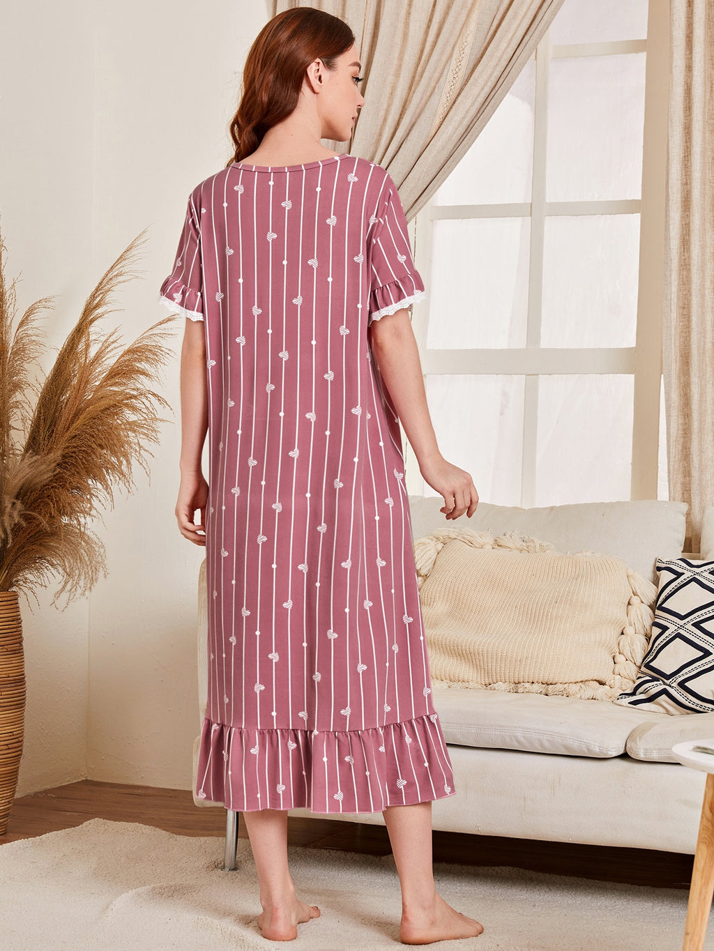 Striped & Heart Print Ruffle Hem Night Dress