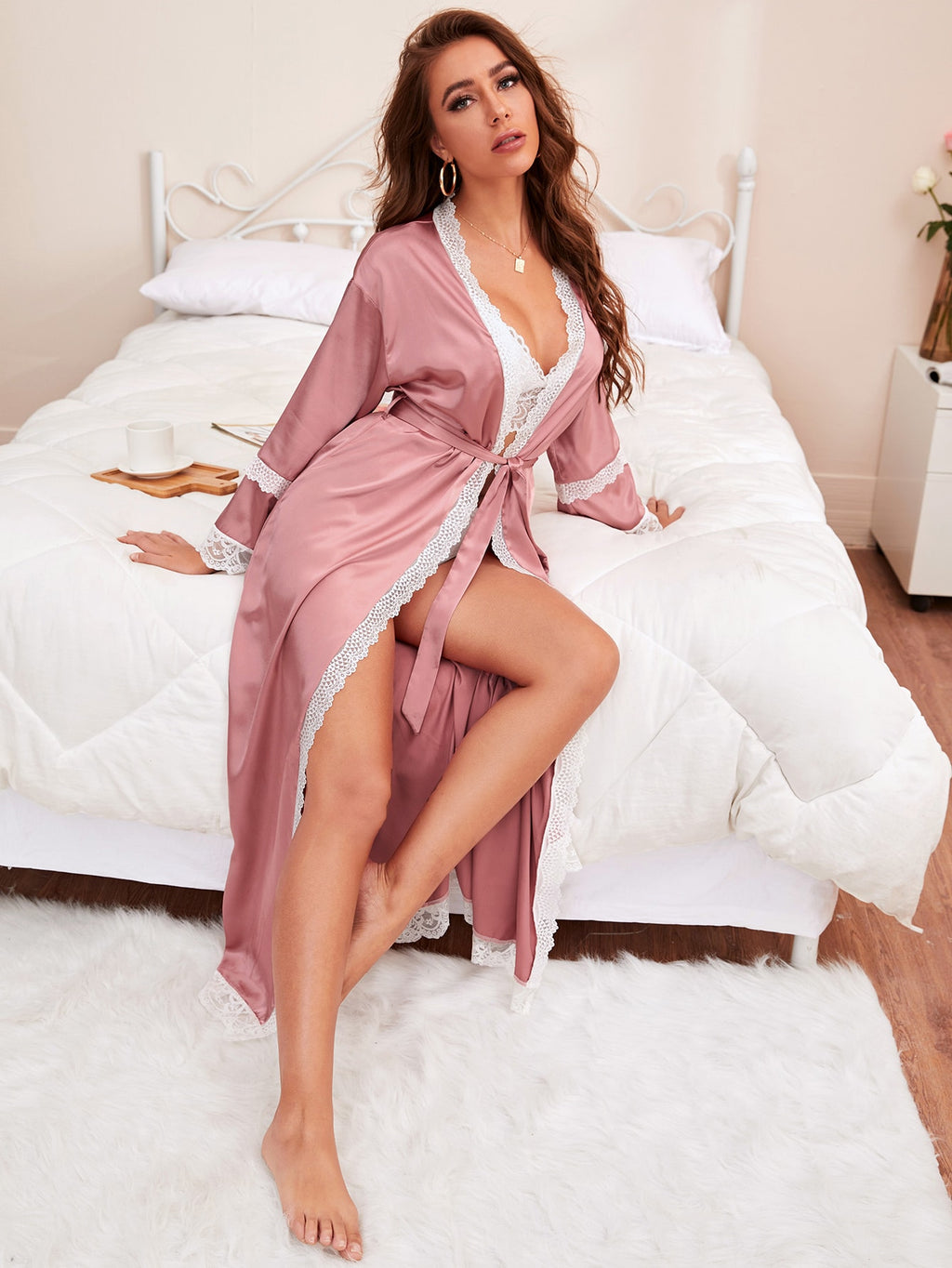 Contrast Lace Belted Satin Night Robe