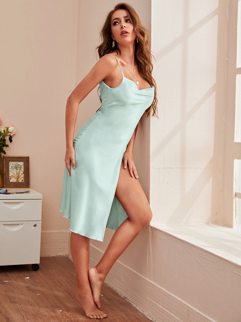 Split Thigh Backless Satin Cami Night Dress