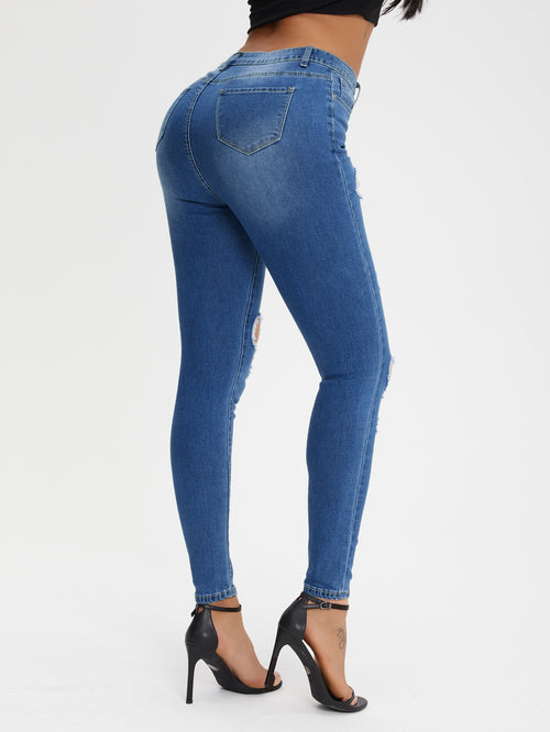 Curvy High-Rise Distressed Skinny Jeans-Negative Apparel