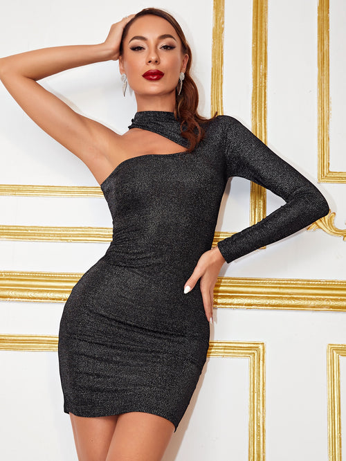 Asymmetrical Neck Glitter Bodycon Dress-Negative Apparel