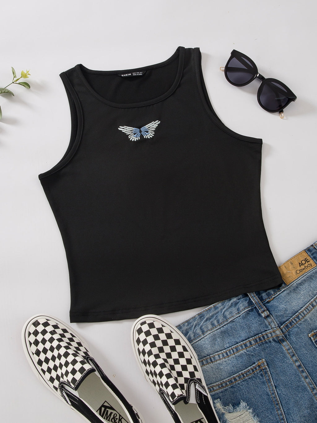 Butterfly Embroidery Ribbed Tank Top FD