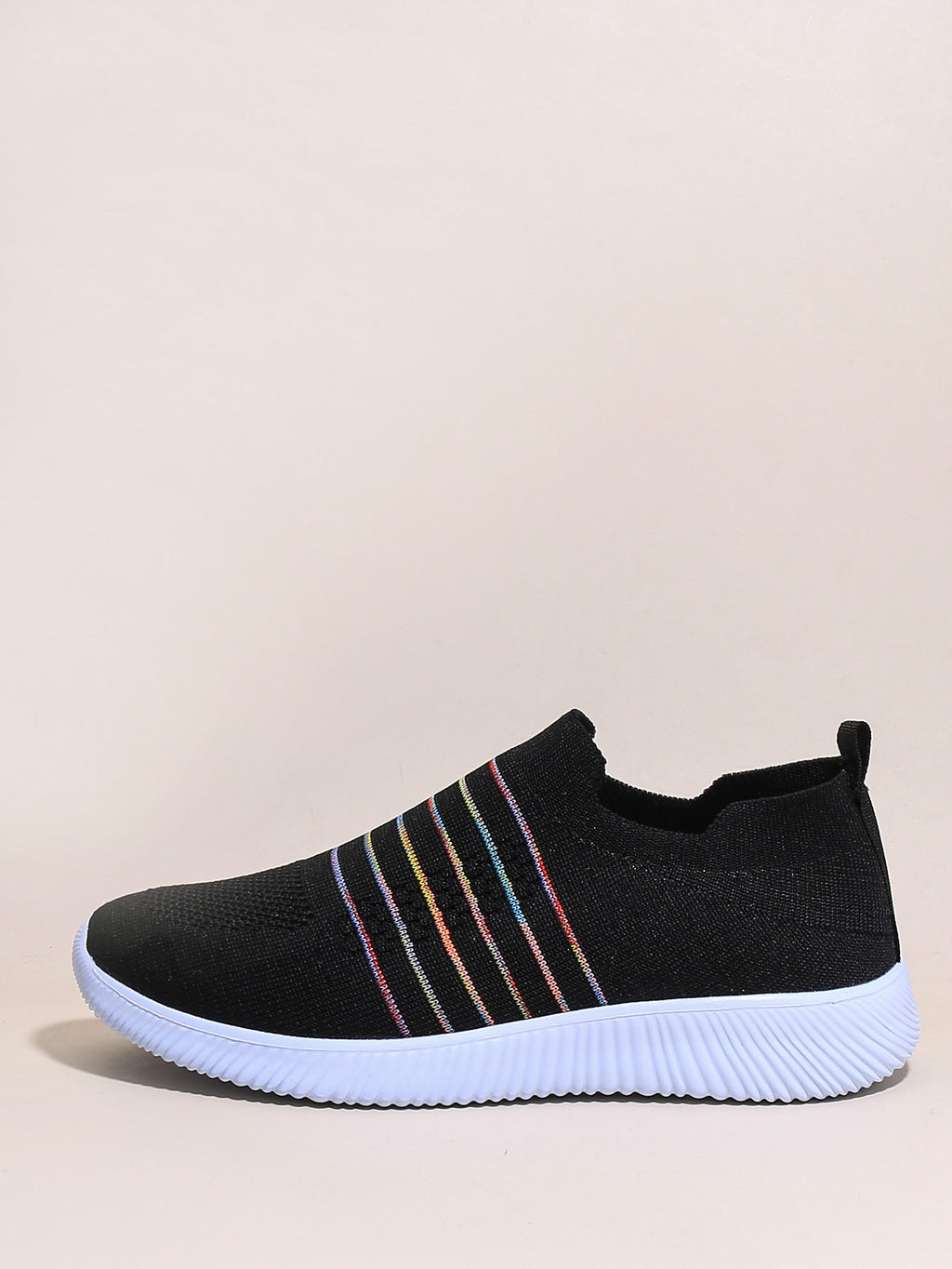 Striped Slip On Knit Sneakers