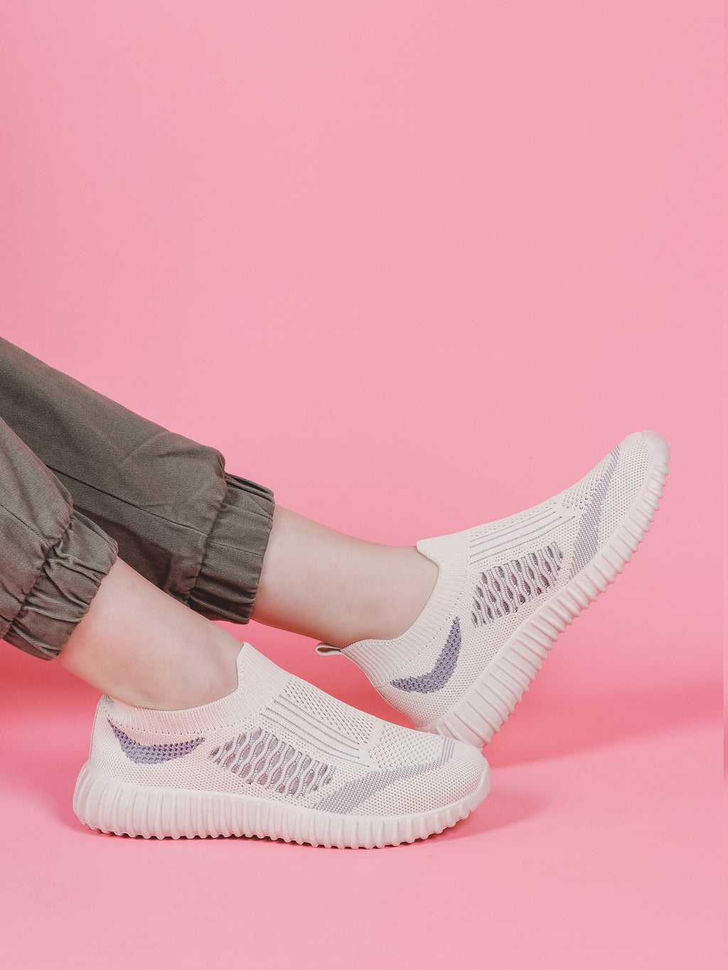 Two Tone Knit Slip On Sneakers