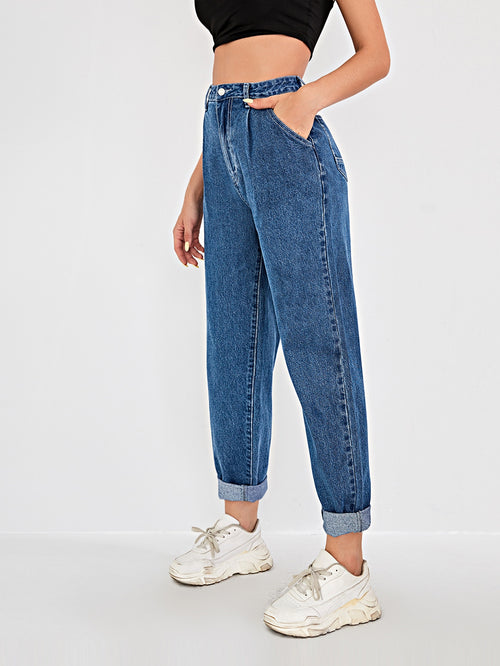 High Waisted Straight-Leg Mom Jeans-Negative Apparel