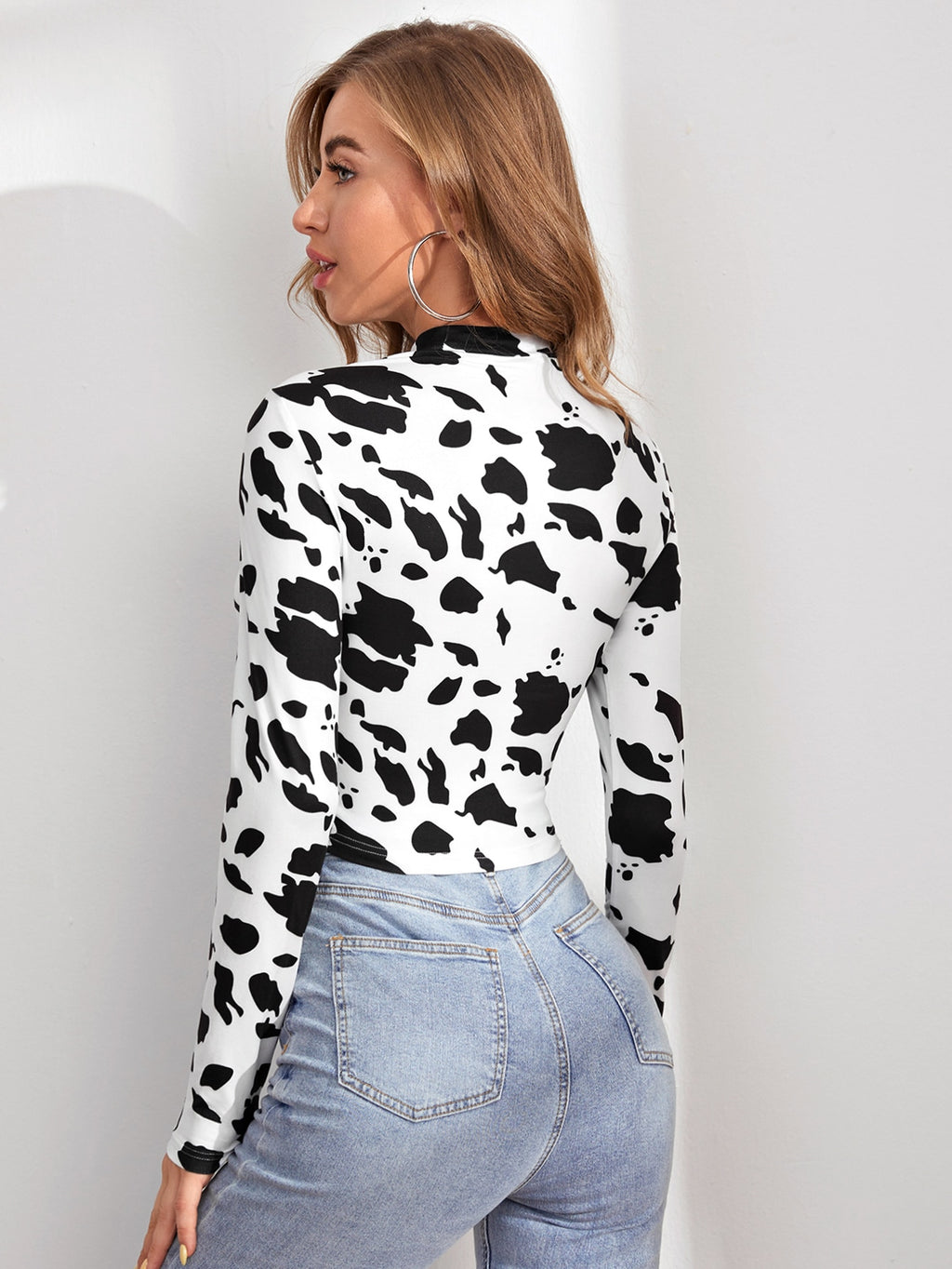 Mock Neck Cut Out Front Cow Pattern Top