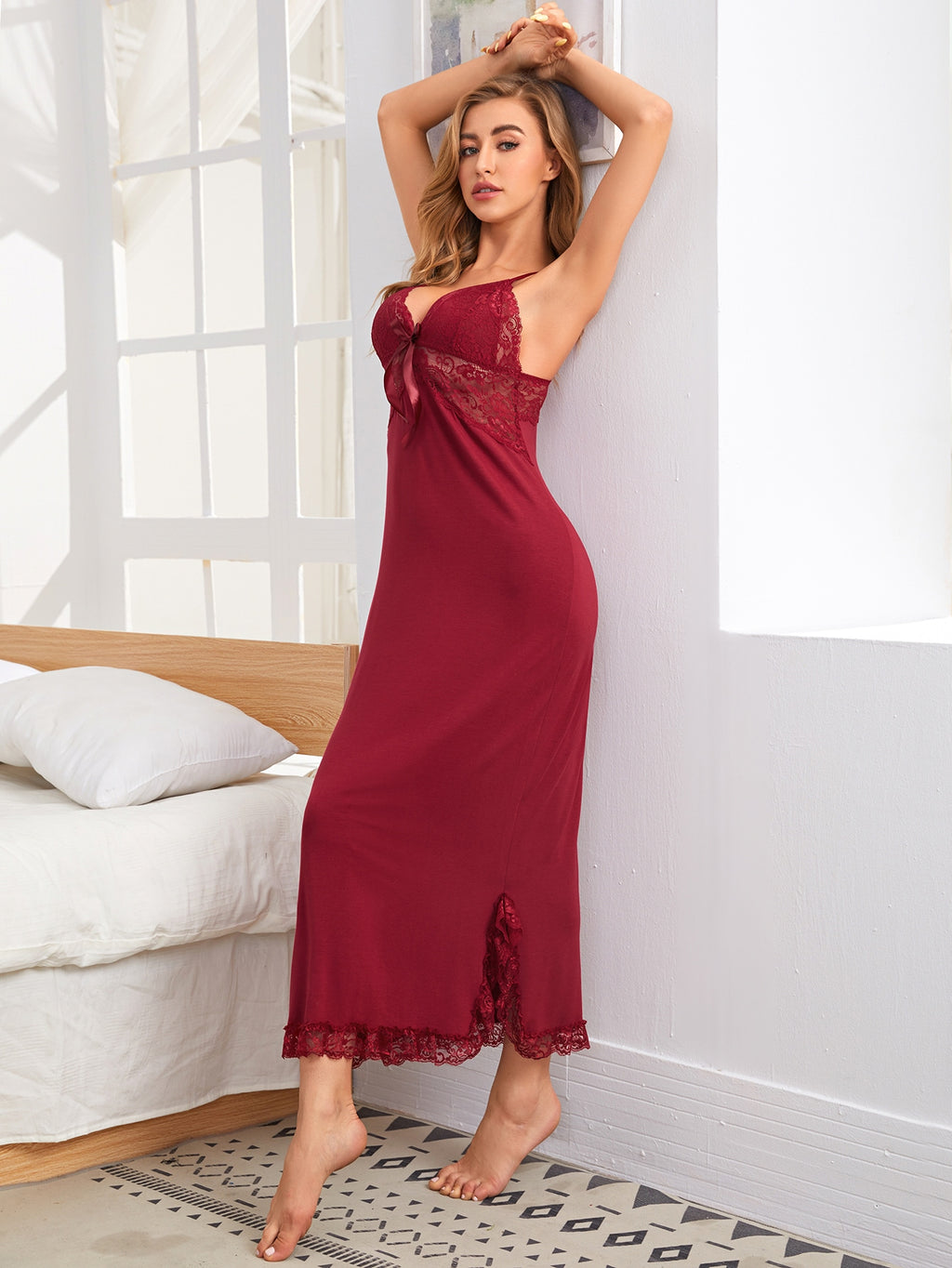 Lace Panel Slit Hem Cami Night Dress